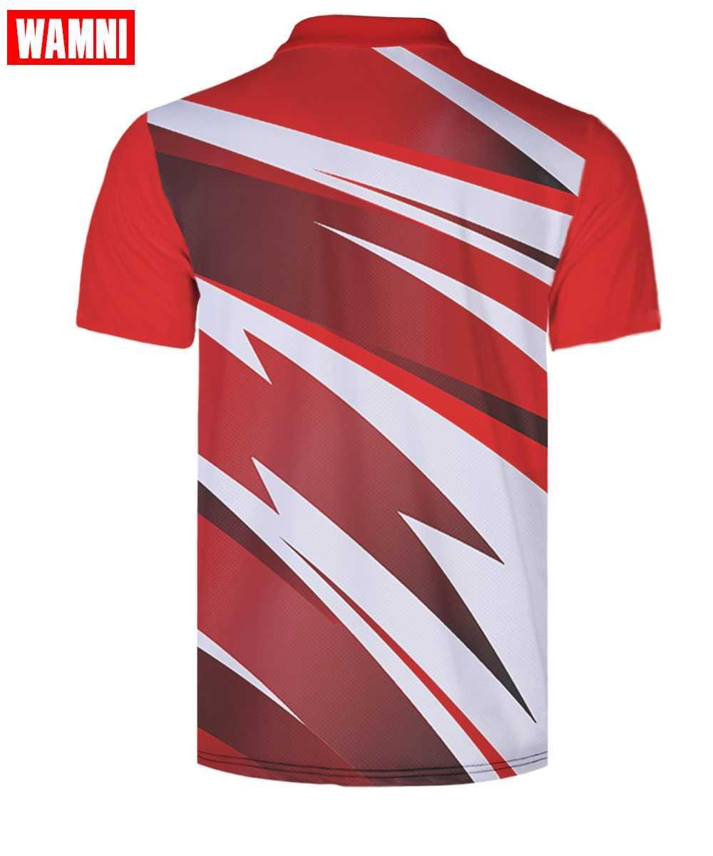 WAMNI 3D スカイブルーポロシャツ熱赤勾配若者のファッション波ドット男スポーツ通気性緩いポロシャツオーバーサイズ