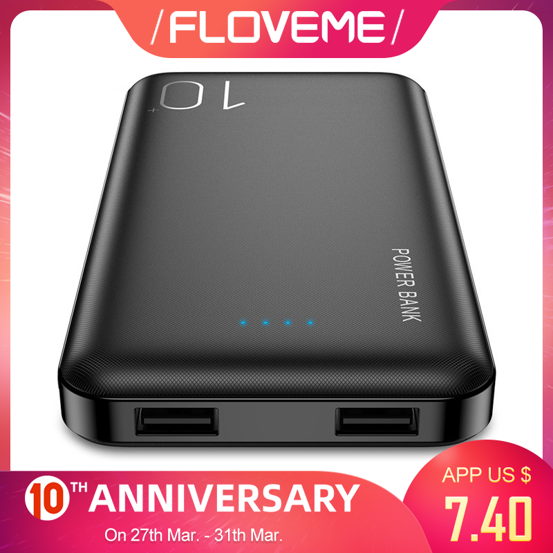 FLOVEME Power Bank 10000mAh For IPhone Xiaomi Powerbank External Battery Pack Portable Charger Mi Powerbank Poverbank Power Bank