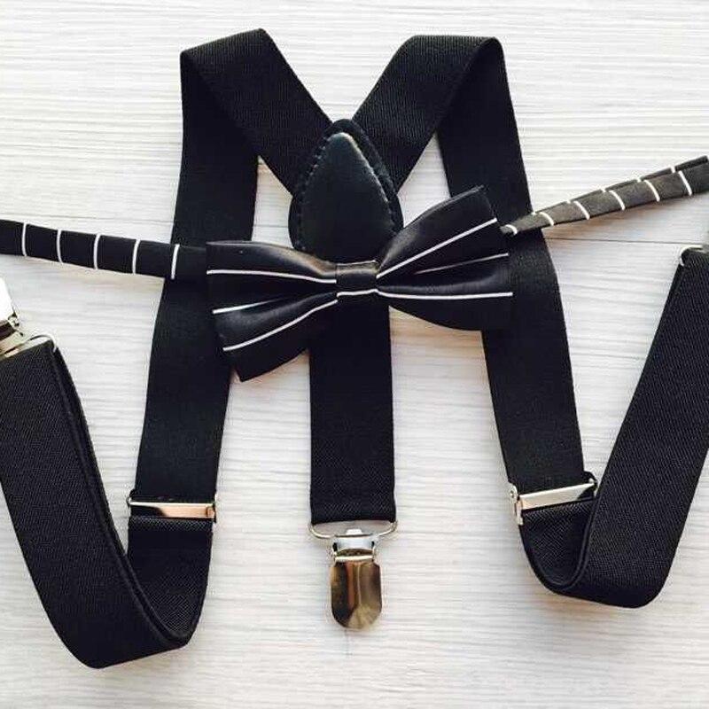 Adjustable Elasticated Kids Suspender Straps Set Boy Girl 3 Clip Suspenders With Striped Bow Tie