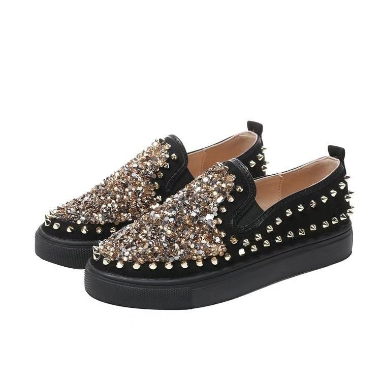 glitter black tennis shoes