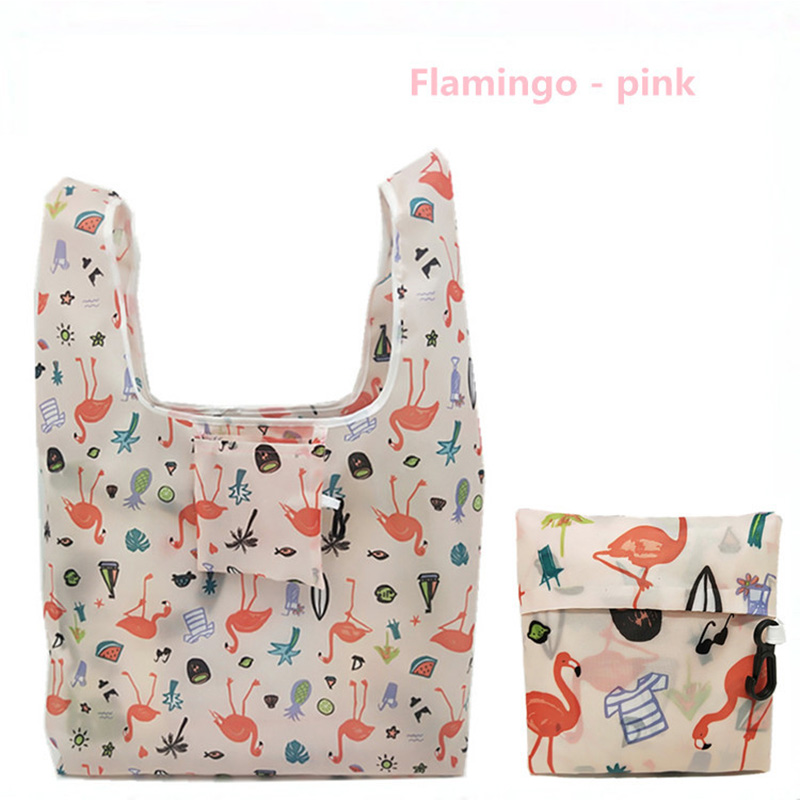 GABWE New Flamingo Recycle Shopping Bag Eco Reusable Shopping Tote Bag Cartoon Floral Shoulder Folding Pouch Handbags Printing