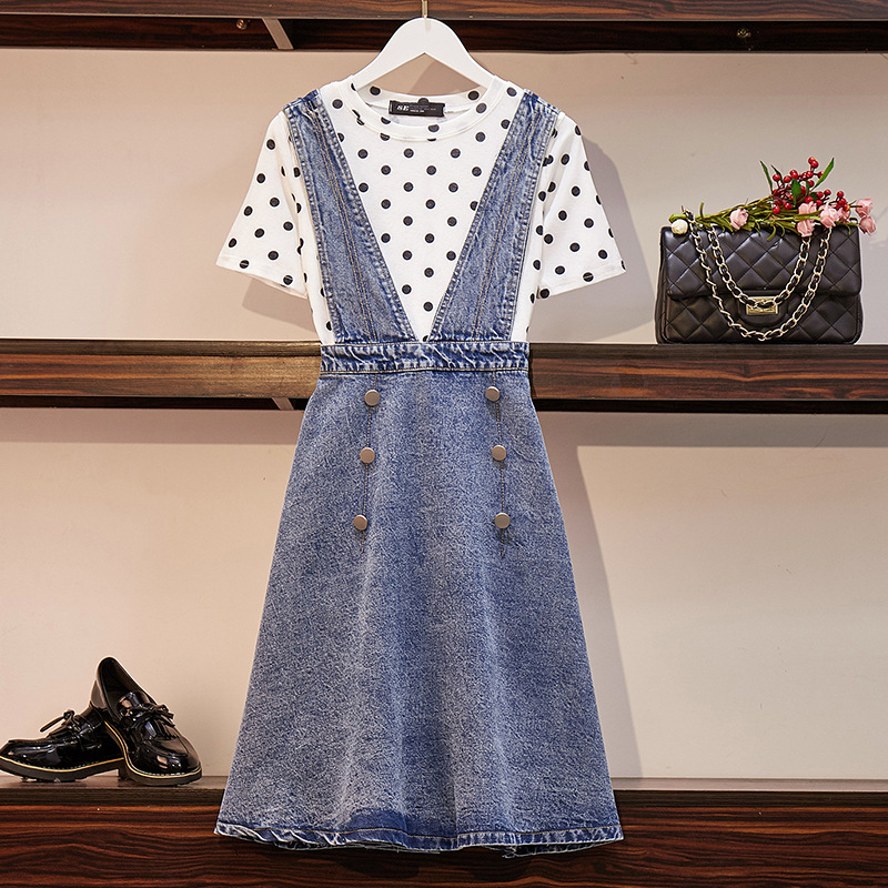 2019 Large Size Dress Fat Mm New Style Summer Wear Polka Dot Base T-shirt And Suspender Skirt Computer Cable Lock Two-Piece Set