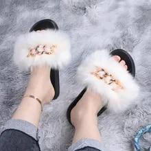 Solid Color Fox Real Fur  Fluffy Slides Fur Sandals Beach Flip-Flops summer Shoes fur Slippers Fashion