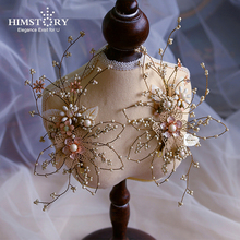 HIMSTORY Handmade European Vintage Hairpins Beaded  Wedding Party Evening Hairwear PEarl Flower HEadband Bridal Hair Accessories