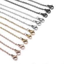 10pcs 2mm Stainless Steel Round Snake Chain 50cm Silver Gold Black With Lobster Clasp For Charm Pendant Necklace Jewelry Making