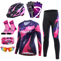 Breathable Summer Long Sleeve Cycling Clothing Women Mtb Bike Jersey Set Pro Team Road Bicycle Clothes Cycle Sports Wear Kits
