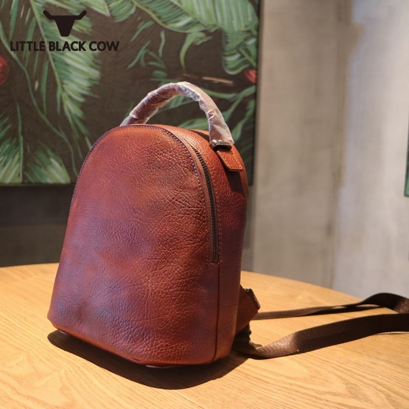 Famous Brand Genuine Leather Backpack Female Vintage Casual Small Travel Backpacks College School Satchel Women
