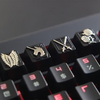 DIY Keycaps Anime Zinc-aluminum mechanical keyboard key cap for Attack on Titan Personalization PC mechanical keyboard R4 height 1