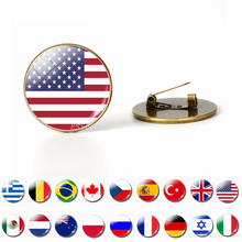 Country World Flags Brooch Pins National Flag Brooches America USA US Canada England Spain Russia Norway Jewelry Dropshipping
