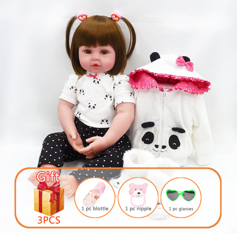Reborn Baby Doll Lifelike Handmade Baby Girl Soft Silicone Toys Toddlers Cotton Dolls With Lovely Panda