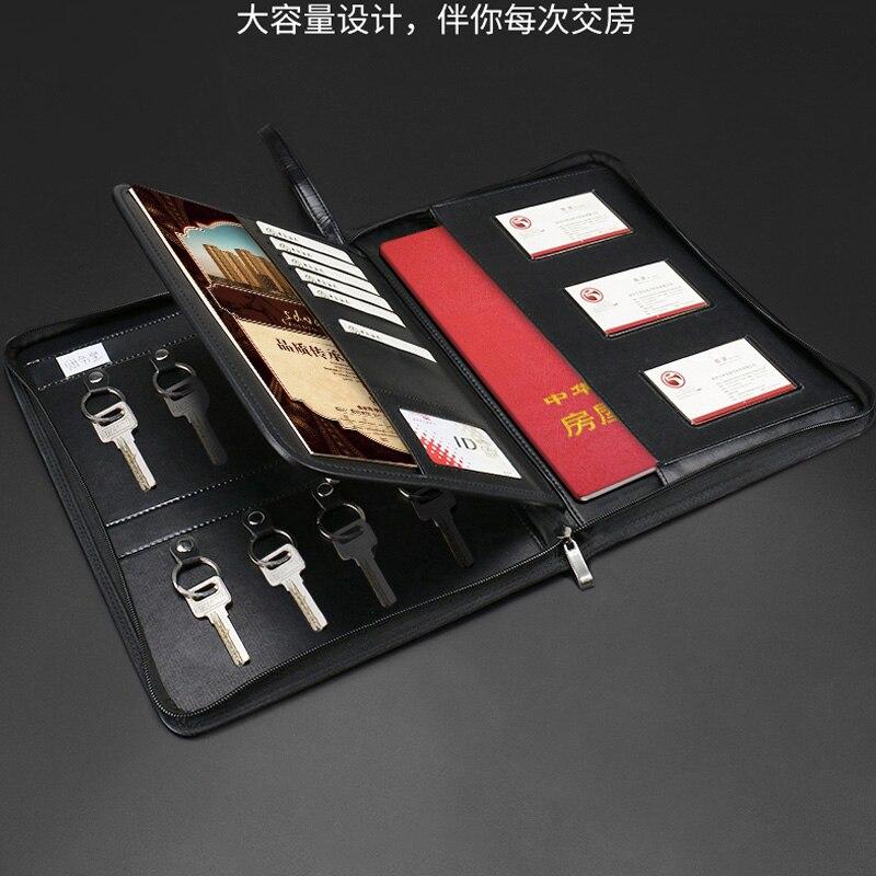 Multifonctionnel PU cuir immobilier ventes A4 dossier padfolio manager sac avec fermeture à glissière crochets clés menus carte support organisateur