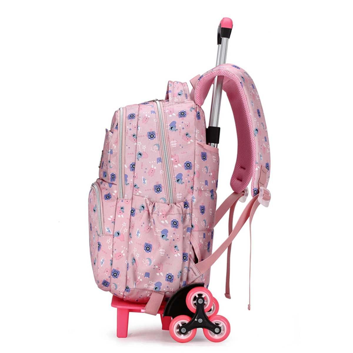 UK 2//6 Wheels Student Teenager School Trolley Backpack Travel Rucksack Tote Bag