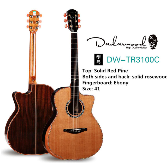 Dadarwood TR3100C handmade red pine solid top, rosewood solid sides and back, 41cutaway acoustic guitar