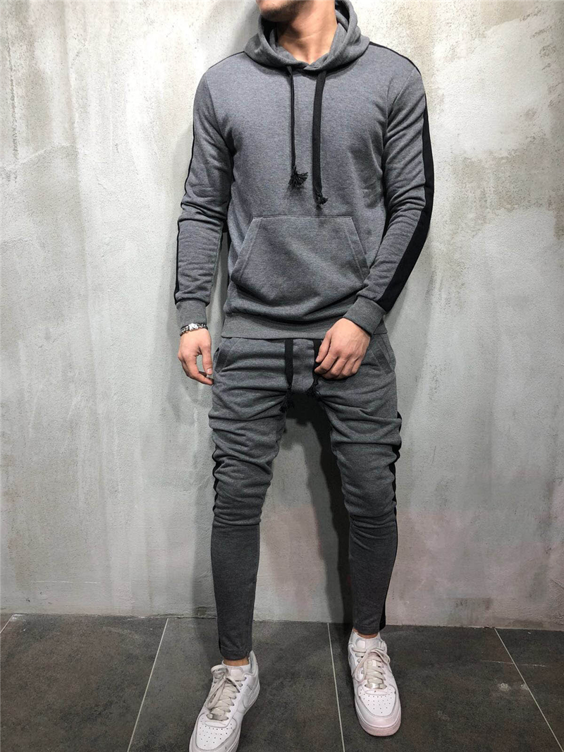 Hirigin 2 Pieces Sets Tracksuit Men New Brand Autumn Winter Hooded Sweatshirt +Drawstring Pants Male Stripe Patchwork Hoodies