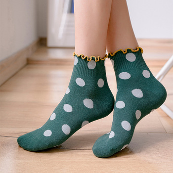 Fashion Women Socks Spring New Striped Cotton Lace Color Cute Dots Casual Breathable Korea Style Lady - discount item  20% OFF Women's Socks & Hosiery