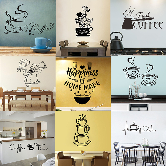 28 styles Coffee Wall Stickers Vinyl Wall Decals Kitchen Stickers English Quote Home Decorative Stickers PVC Dining Room Shop 2
