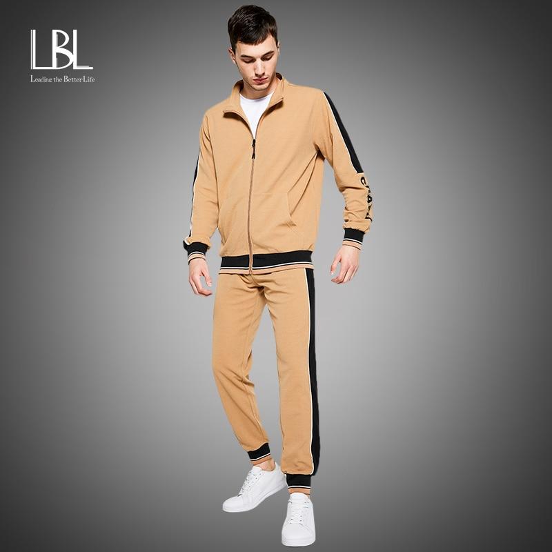 New Men's Sweatsuit Sets 2020 Autumn Winter 2 Piece Zipper Jacket Track Suit + Pants Casual Tracksuit Men Sportswear Set Clothes