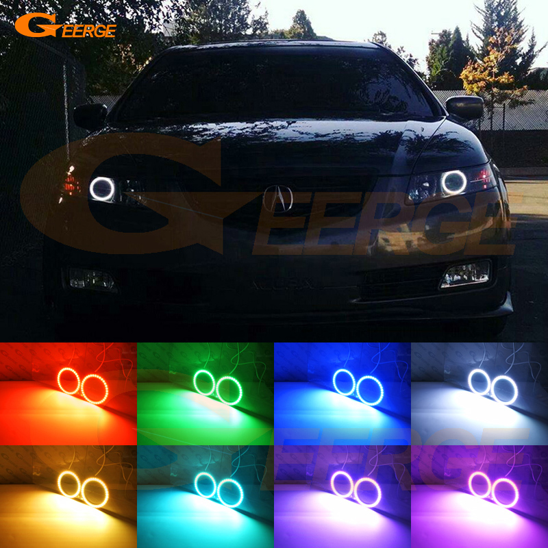 For <font><b>ACURA</b></font> <font><b>TL</b></font> 2004 2005 <font><b>2006</b></font> Excellent RF remote Bluetooth APP Multi-Color Ultra bright RGB LED Angel Eyes Halo Ring kit image
