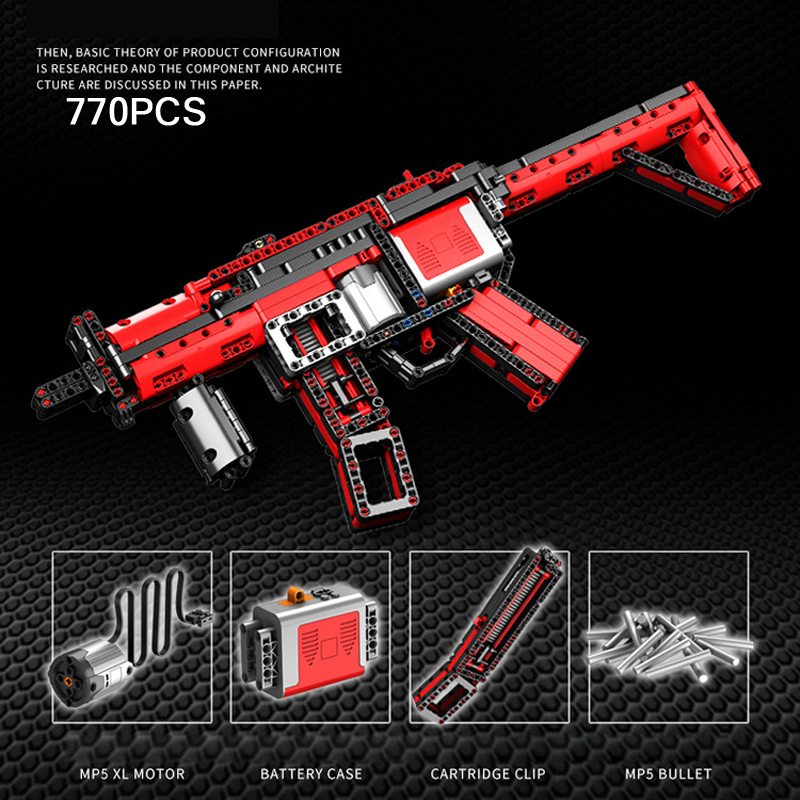 Cool Modern Military Gun Building Block Weapon HK Mp5 Submachine Gun Bricks Assemblage Toys With Shotting Collection For Gifts