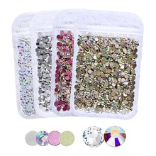 Quality Assurance! Various Clear AB Non hot fix Rhinestones ss3-ss30 flat back crystal stone strass glitter for 3d nail garment