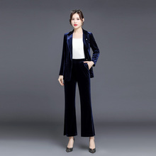 Blazers suits office Two-piece suit (jacket + trousers) gold