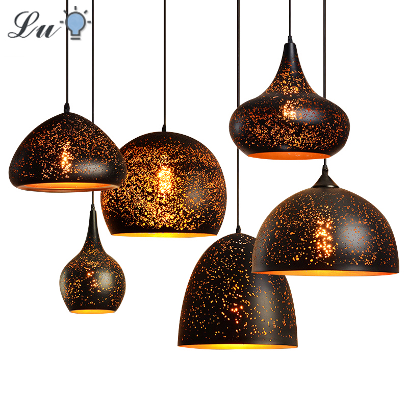 LED Nordic Modern Pendant Light Vintage Rust Industrial Wind Indoor Hanging Lamp E27 Loft Dining Room Bar Lighting Fixtures