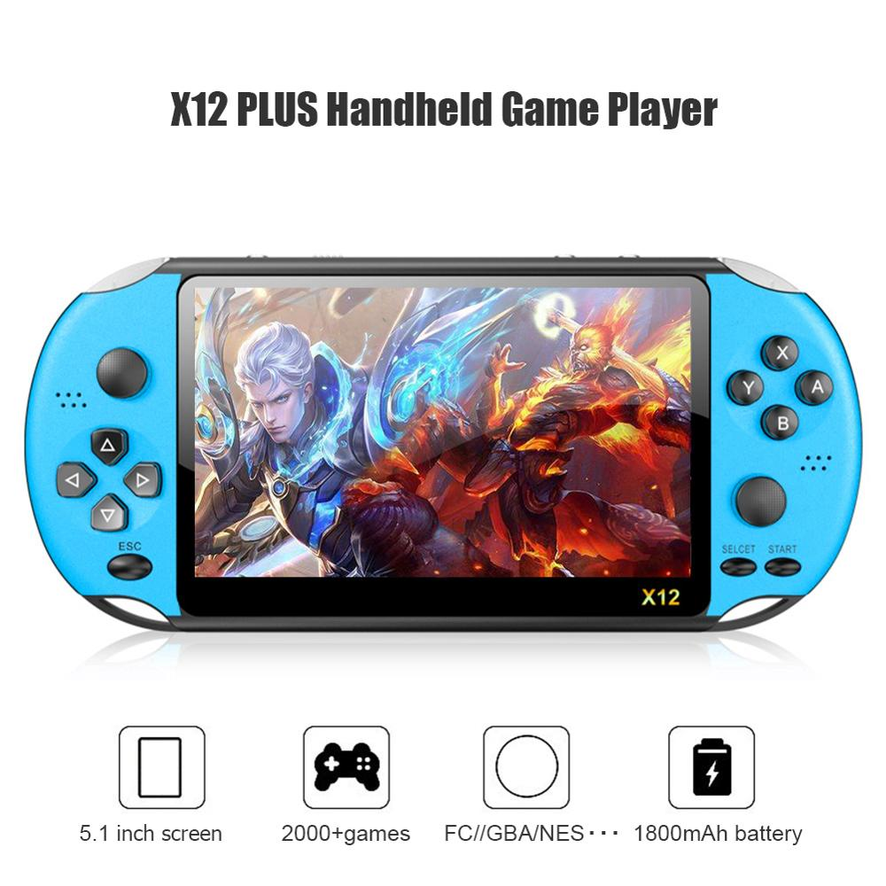 cheapest X12 5 1 inch Handheld Game Video Player 8G LED Screen Built-in 2500 Games X12PLUS Retro Consoles Support TF Card