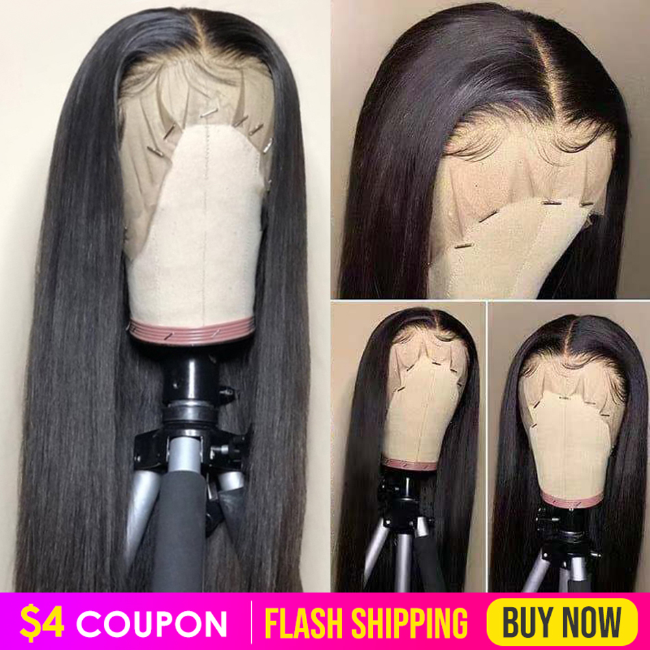 Lace Front Human Hair Wigs Pre Plucked Straight Wig For Women Virgo 13x4 150% Peruvian Straight Remy Hair Lace Frontal Wigs