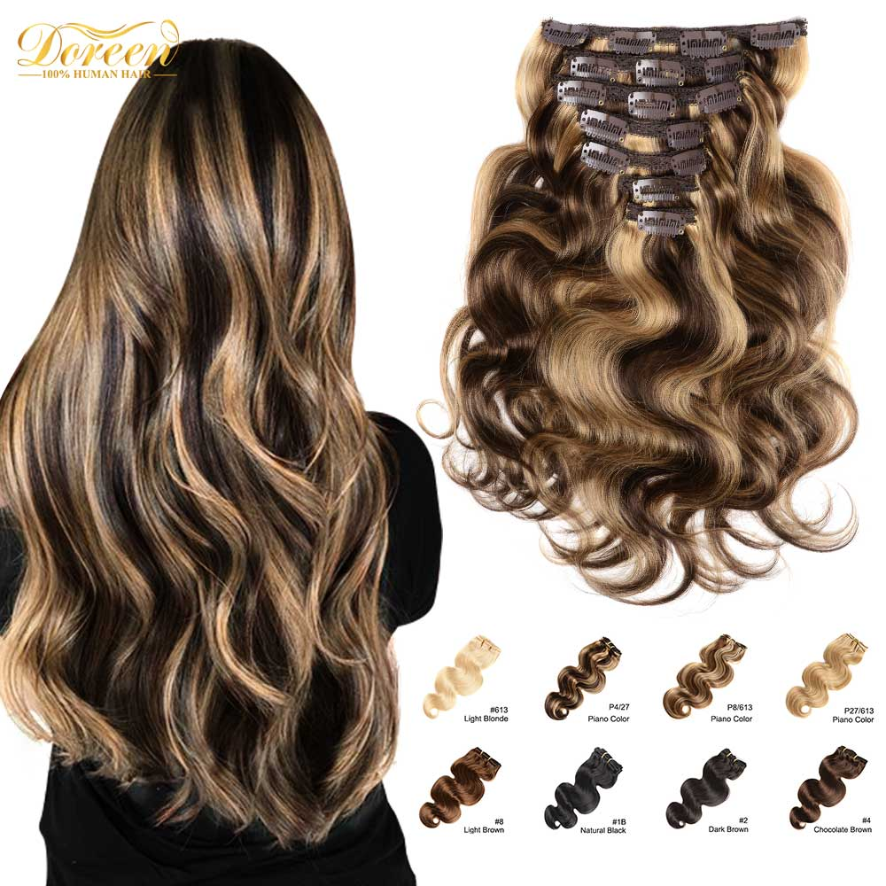 Doreen 120 Grams Clip In Human Hair Extensions European Machine Made Remy 100% Human Hair Highlight Caramel Ombre Color