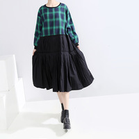 Women Green Pleated Plaid Split Big Size Dress New Round Neck Long Sleeve Loose Fit Fashion Tide Spring Autumn 2019 D043