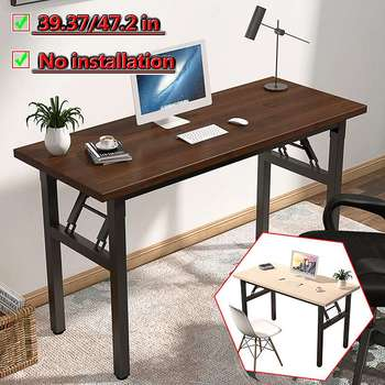 Home Computer Laptop Desk Modern Style Computer Table with Bookshelf Wooden Standing Desks for Home Office Living Room