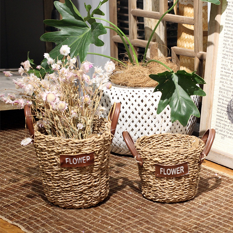 Hand-woven Storage Baskets Wicker Weaving Flower Vase Rattan Storage Basket  Sundries Organizer Garden Planter Pot with Handle