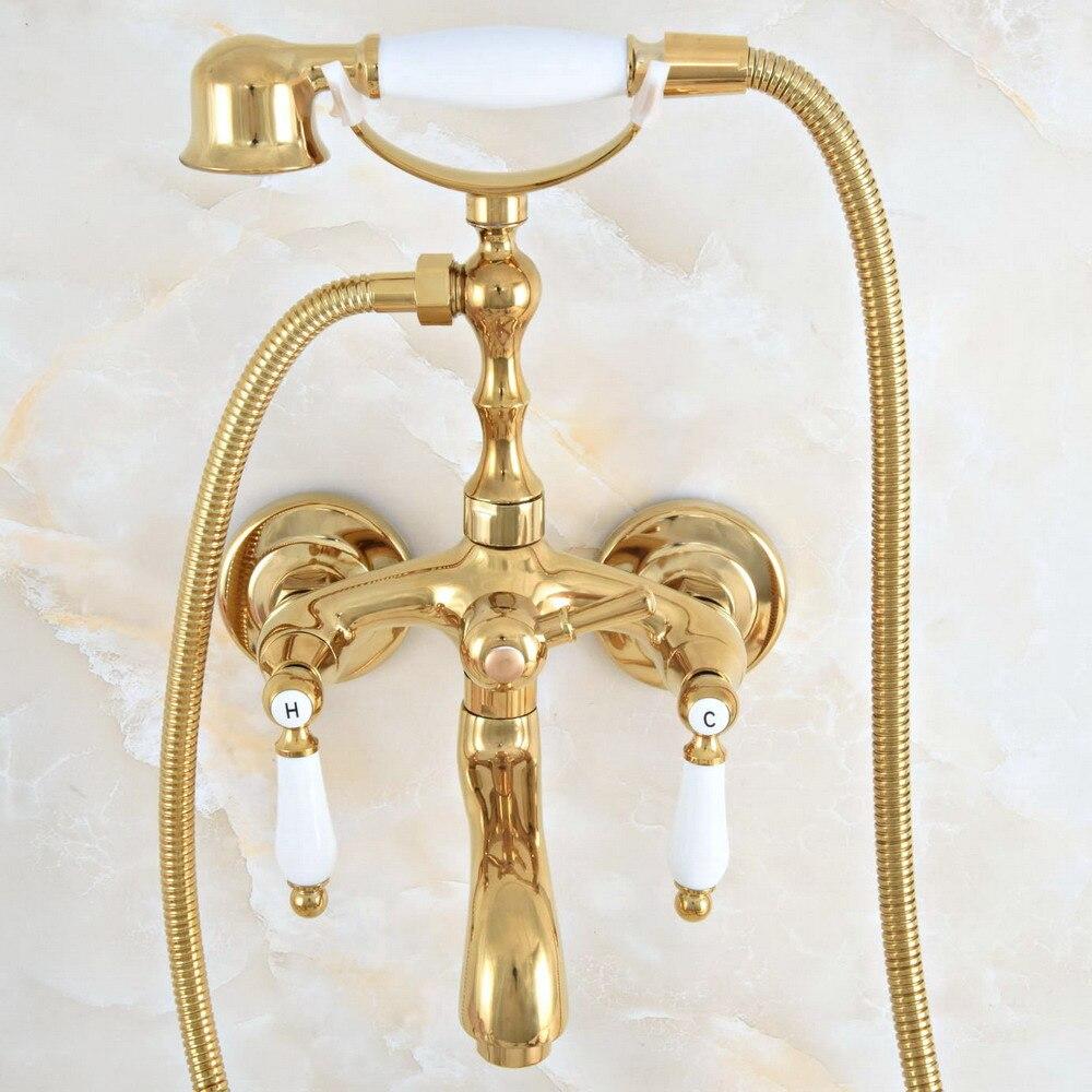 Роскошь полировка золото цвет латунь ванная комната стена крепление коготь ванна смеситель краны набор с ручным держателем душ насадка спрей mna822