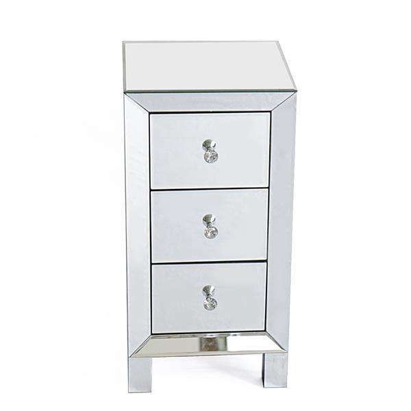 3 Drawer Mirrored Bedside Table 2