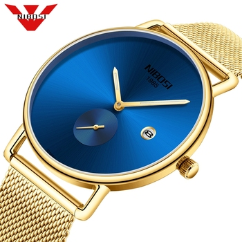 NIBOSI Fashion Mens Watches Top Brand Luxury Ultra Thin Quartz Watch Men Steel Mesh Waterproof Gold Watch Relogio Masculino