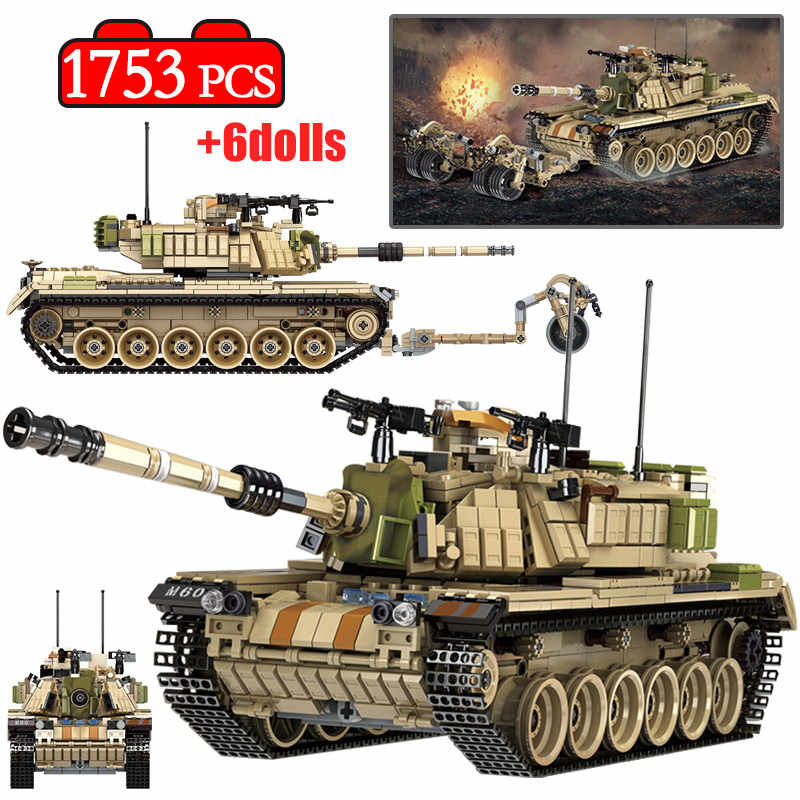 1753 Pcs Army Theme M60 MAGACH Tank Building Blocks Legoingly Military WW2 Weapon Soldier Figures Bricks Toys for Boys