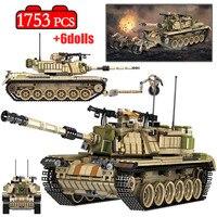 1753 Pcs Army Theme M60 MAGACH Tank Building Blocks Legoingly Military WW2 Weapon Soldier Figures Bricks Toys for Boys