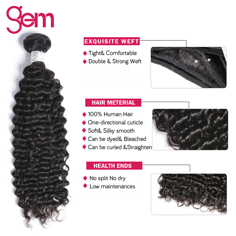 Deep Wave Bundles With Closure Peruvian Hair Weave 3/4 - Menneskelig hår (for svart) - Bilde 4
