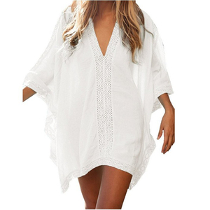 New Summer Women Cover Up Sexy Beach Cover Ups Swimsuit Bikini Chiffon Short Dress Gold Beach Bathing Suit tunic Swimwear