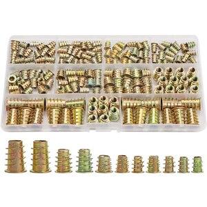 Inserções de rosca Nuts, Ferramenta de Inserção de Madeira Variedade Kit, m4/M5/M6/M8 Prendedor de Parafuso Móveis Parafuso Inserções (165 PCS)