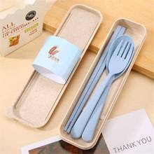 Hot Sale Portable Wheat Straw Tableware Cutlery Set Three Piece For Children Adult Travel Cutlery Kit Gift Dinnerware Set(China)