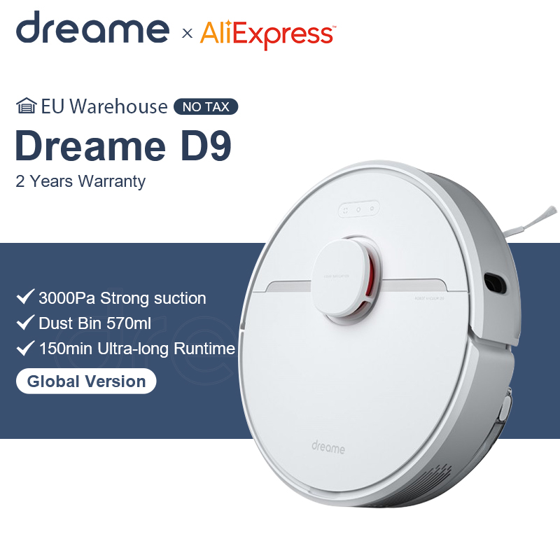 Dreame D9 Robot Vacuum Cleaner Global Version 3000Pa Suction Sweeping Washing Mopping Robot Aspirator Smart Home MIJIA APP WIFI