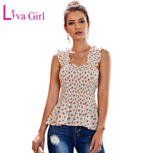 LIVA GIRL Summer Plus Size Floral Print Smock Tank Top for Women Ruched Ruffle Sleeveless and Vest Big Female Tanks XXL