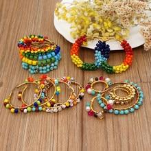 Go2boho arco-íris orelha anel argola brinco para as mulheres 2021 na moda natural pedra pérola jóias boho brincos de ouro aros