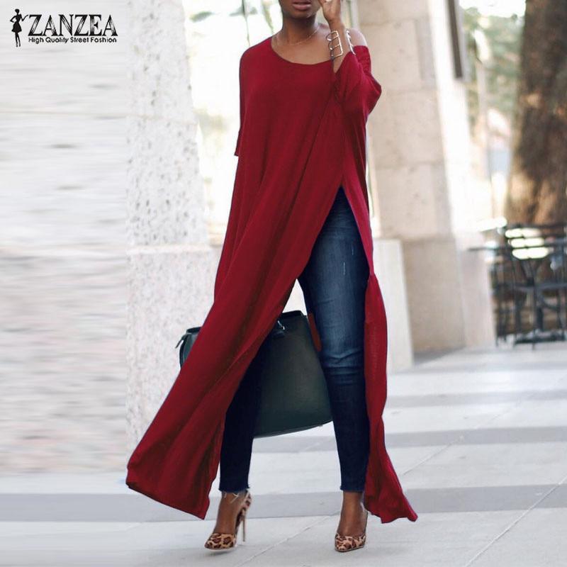 2019 Plus Size ZANZEA Autumn Women Casual Solid Off Shoulder 3/4 Sleeve High Split Party Long Shirt Vestido Blusas Blouse Tops