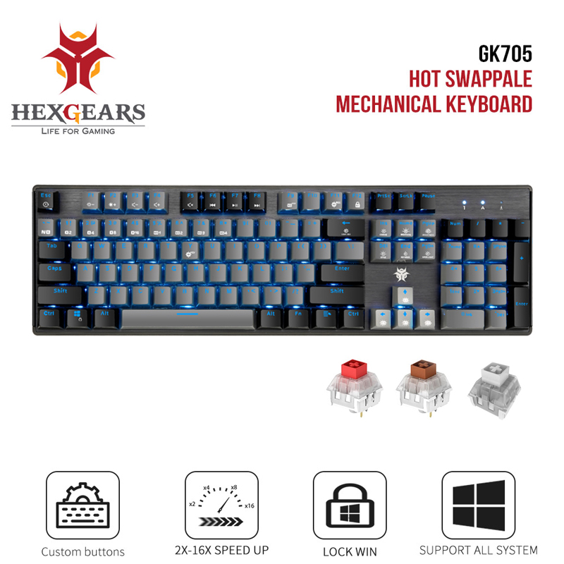 HEXGEARS GK715 Kailh BOX Switch Gaming LOL Keyboard Waterproof Hot Swap 104 keys Pink Mechanical keyboard
