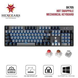 Image 1 - HEXGEARS GK715 Kailh BOX Switch Gaming LOL Keyboard Waterproof Hot Swap 104 keys Keyboard Pink Gaming Mechanical keyboard