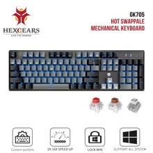 HEXGEARS GK715 Kailh תיבת מתג משחקי LOL מקלדת עמיד למים החלפה חמה 104 מפתחות מקלדת ורוד משחקים מכאני מקלדת