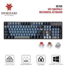 Hexengrenages GK715 Kailh boîte commutateur jeu LOL clavier étanche Hot Swap 104 touches clavier rose jeu mécanique clavier