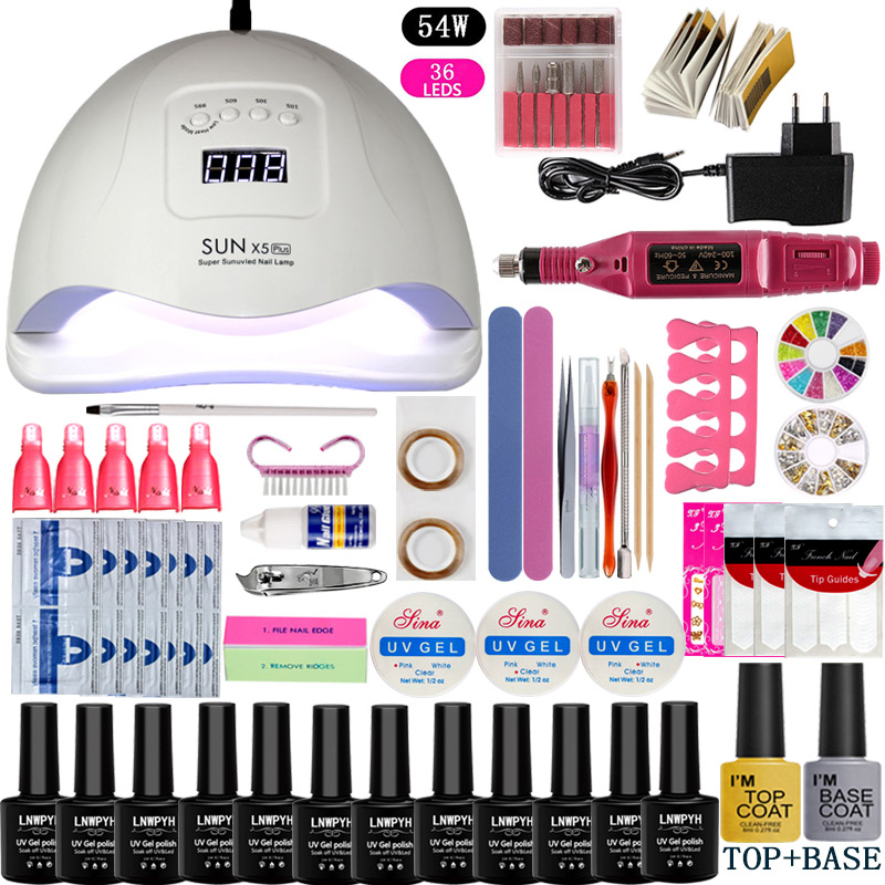 Nail Set UV LED Lamp Dryer With 12pcs Nail Gel Polish Kit Soak Off Manicure Tools Set electric Nail drill For Nail Art Tools